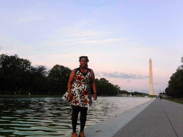 Next to the Reflecting Pool, with the Washington Monument at the back.
